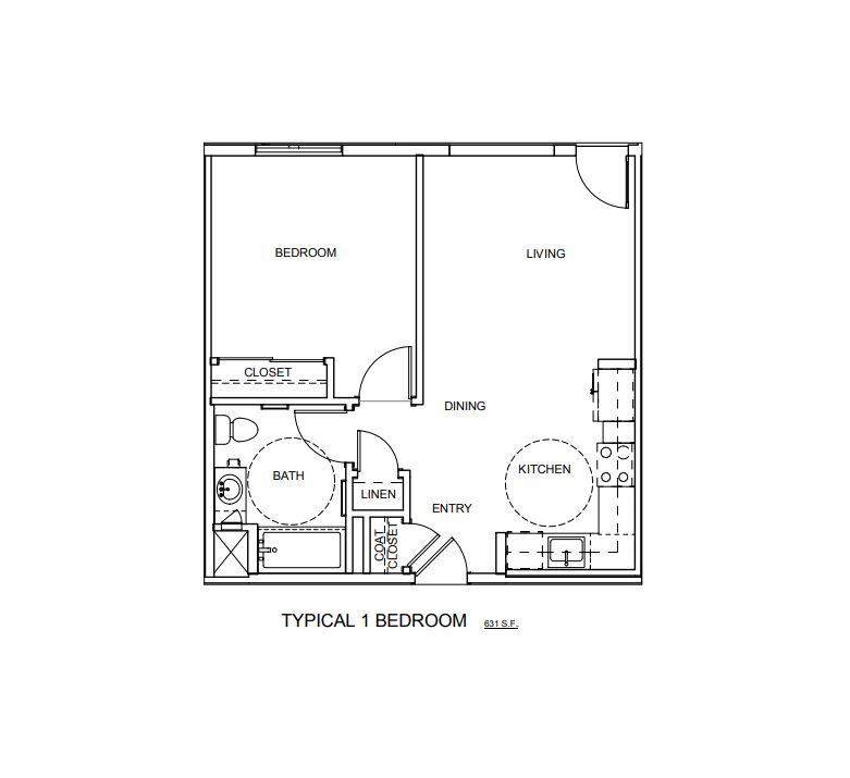 1BR Floor plan